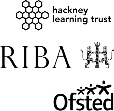 Logos of: The learning trust - The future of education in Hackney, RIBA - Royal institute of British architects, Ofsted.